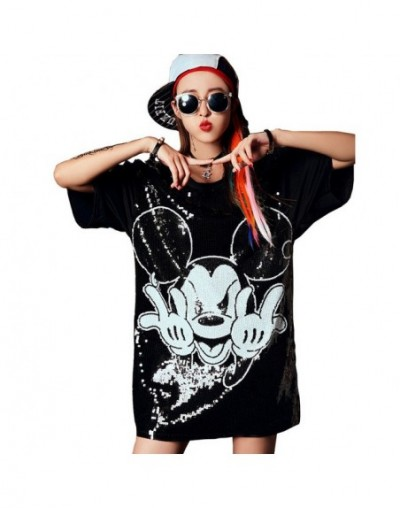 Chic Woman Cartoon Mickey sequins loose Oversized Long T-shirt Hiphop Numbers Short sleeved splicing Sequined Tops Streetwea...