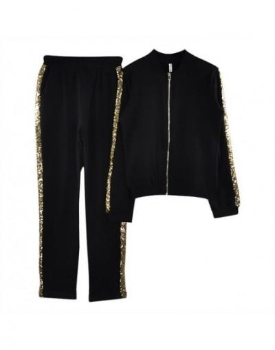 Outfit Women Casual Cotton Tracksuit Women 2 Piece Set Zipper Jacket and Pants Sequined Patchwork Outwear Sweat Suit - Black...