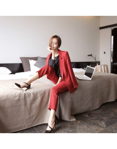New two piece set top and pants solid color temperament suit female jacket top Slim one button suit nine pants 2 sets - 2 - ...