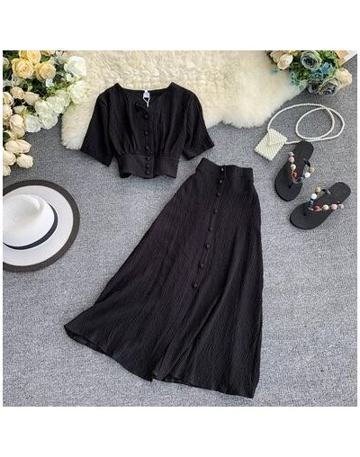 Fashion women outfits 2019 short design front buttons tops and long skirt 2pcs set solid color side open skirt and blouse - ...