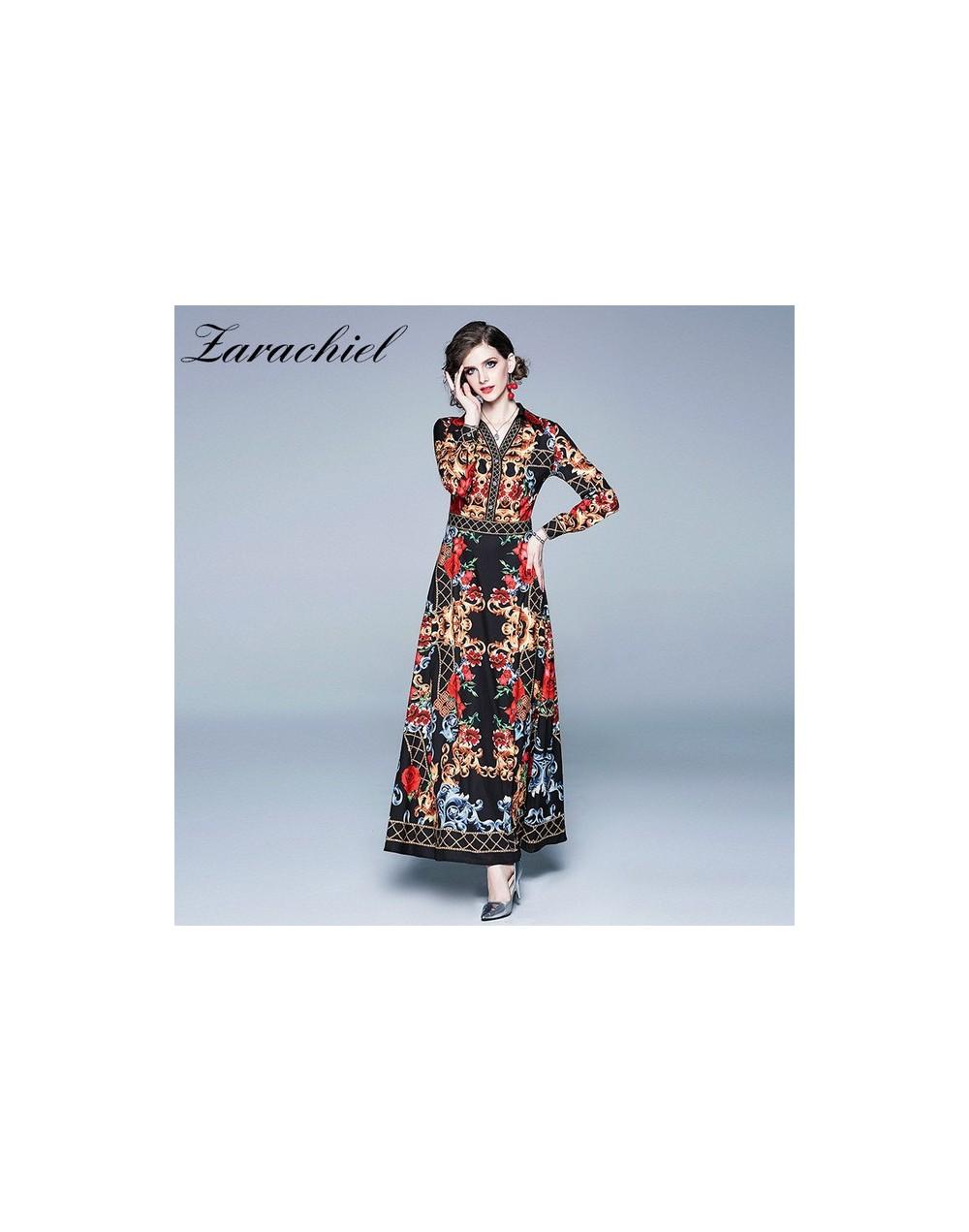 New Fashion Rose Flower Print Autumn Dress Women 2019 Vintage Boho Maxi Dress Long Sleeve V-neck Elegant Female Long Dress -...