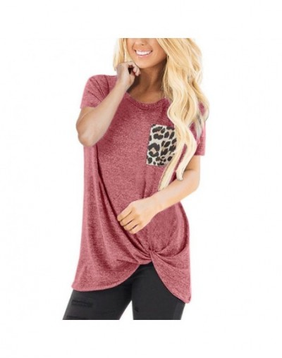 Women T-Shirt Casual Leopard Pocket Short Sleeve O-Neck Twist Knotted Tops T-Shirt Women Clothing Modis - Red - 4P3075862508-5
