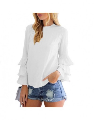 Women Blouse Long Butterfly Sleeve O-Neck Solid Color Chiffon Shirts Loose Type White Yellow Red Green Blouse 2019 Summer - ...