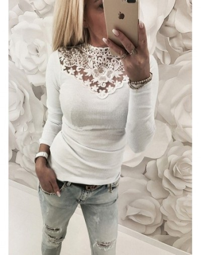 Womens Warm Long Sleeve Knitted Lace Blouse Ladies Tops Pullover Jumper Lace Shirt - White - 4C3996979877-4