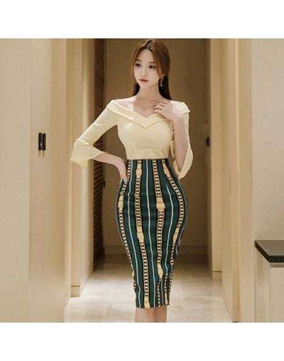 Women's 2 Pieces Suits Solid Color Off Shoulder Slash Neck Top + Print Sheath Bodycon Pencil Skirt Office Set Autumn - Khaki...