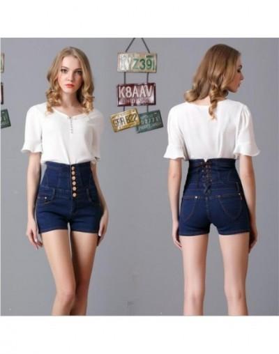 2019 new hot sale women's spring summer casual straight jeans shorts ladies big yards elastic high waist denim shorts S-5XL ...