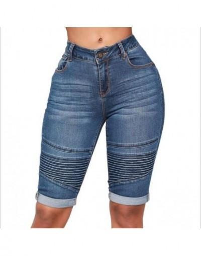 Summer Women's High Waist Denim Blue Shorts Bodycon Knee Length Elastic Slim Fit Classic Shorts 2019 New Style - Dark Blue -...