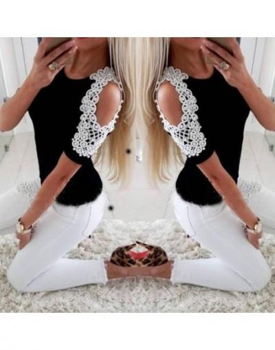 Fashion Women Ladies Summer Cotton Soft Short Sleeve Casual Shirt Tops Ladies Open The Shoulder Beading T-Shirts - Black - 4...
