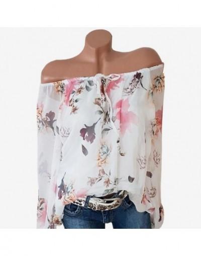 Chiffon Blouse Women Top No Lined Shirts Autumn Casual Slash Neck Bohemian Long Sleeve Ladies Sexy Print Blouse Femme Shirt ...
