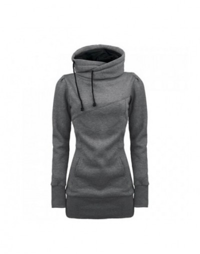 Women Lady Top Hoodie Long Sleeve Drawstring Pocket Solid Color For Autumn Winter XIN-Shipping - Gray - 4A4156829454-3
