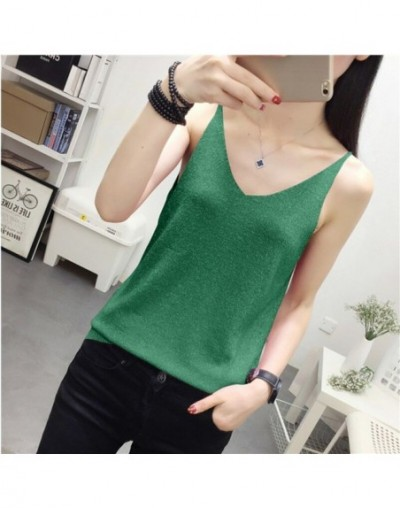 Women's Fashion Slim Knitting Shinning Thin Camis Tops Girl Knitted Solid Tank Tops Sleeveless T shirts Top for Female - Gre...