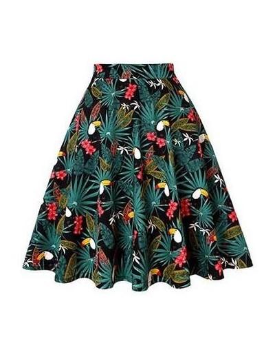 Women Midi Skirt Runway Vintage Rockabilly Womens Pinup 50s 60s Cotton Pleated Skirts High Waist Pinup Mini Black Daily Skir...