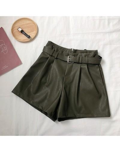 Female Autumn Solid Color PU Wide Leg Fashion High Waist Wild Shorts with Belt - Green - 5J111184386511-3