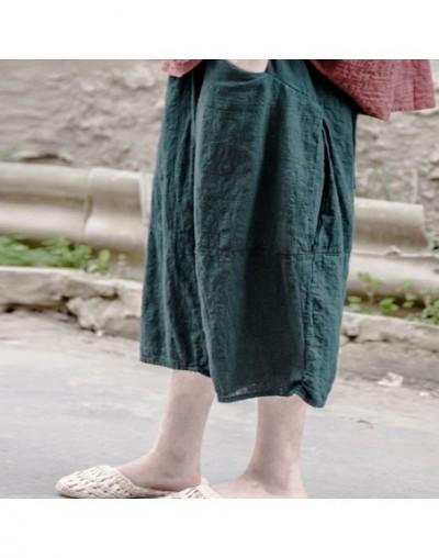 2019 Summer New Women Vintage Pants Elastic Waist Cotton Linen Casual Brief Patchwork Trouser Calf-Length Pants - Green - 4Q...