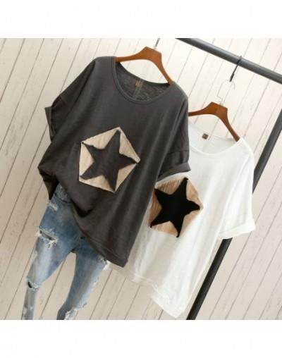 Fanco Plus size Women loose T-shirt Star white black gray fashion casual cotton t-shirts tops tee 100% cotton t-shirts outwe...