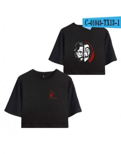 Summer TV series Money Heist La Casa de Papel House of Paper Short Sleeve T-shirt Women Sexy Navel Cotton Crop Tops - Black ...
