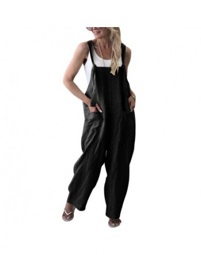 2019 Fashion Women Solid Dungarees Jumpsuit Spring Casual Sleeveless Trousers Strap Baggy Harem Sport Loose Jumpsuits - blac...