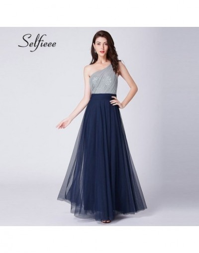 New Arrival Elegant A Line One Shoulder Tulle Dresses Robe Femme Sexy Backless Sequined Party Dress For Ladies Long Maxi Dre...