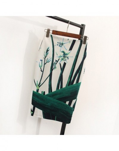 Floral Print High Waist Pencil Skirt Fashion Bodycon Skirts Womens Summer 2019 Knee Length Elastic Saia 2C574 - as picture 0...