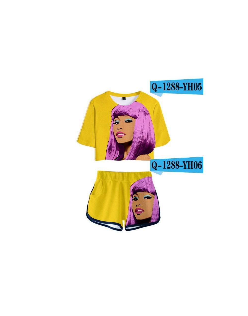 3D Pop Summer Soft Shorts And T-shirts Nicki Minaj Fashion Women Two Piece Sets Cool Print Crop Top Clothes - Dark Grey - 4J...
