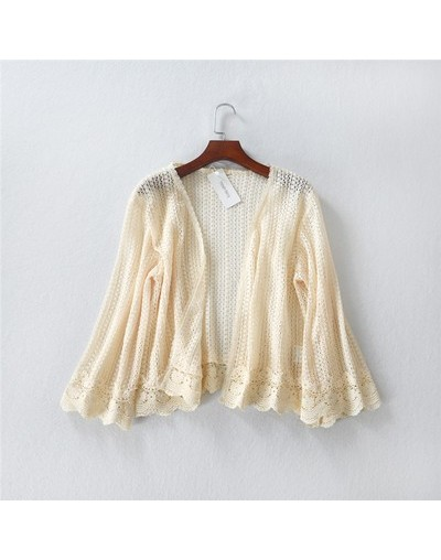 2018 summer flare sleeve loose hollow out lace cardigan embroidery lace short top shirt open stitch for women - Beige - 4X39...