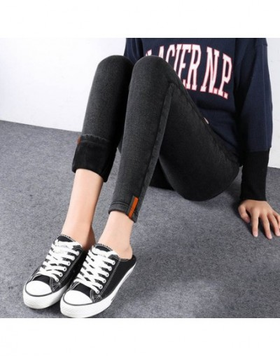 2019 Women Winter Thick Warm Jeans Black High Waist Jeans Vintage Autumn Elastic Pencil Trousers Slim Female Skinny Snow Jea...
