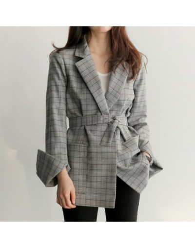 Korean Fashion Checked Plaid Blazer Women Office Lady Elegant Blazer Mujer Autumn 2018 Women Blazers And Jackets With Belt -...
