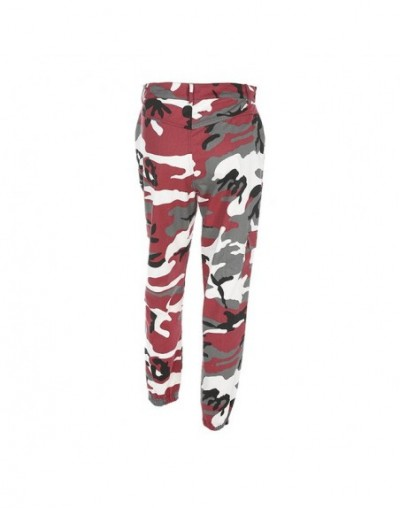 Women Harajuku Camo Pants Female Casual Pockets Straight Multicolor Trousers For Women Fashion High Waist Pants - Red - 4R30...