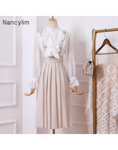 Two-piece Set Autumn Small Fragrance Suits Women New Lotus Leaf Edge Solid Color Shirt + String Beaded Strap Skirt Student S...