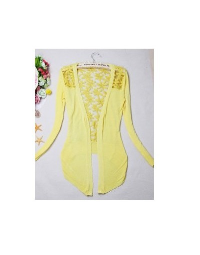 New Style 2018 Summer Autumn Jackets Girl Women's Lace Sweet Candy Color Crochet Knit Blouse Sweater Cardigan Outerwear - Ye...
