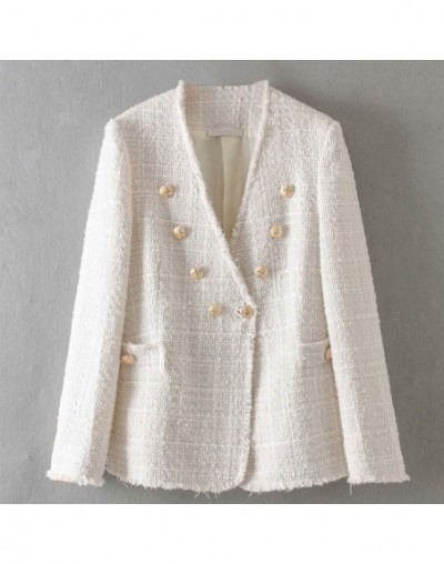 Sweet Pink Coat Double Breasted V Neck Long Sleeve Jacket Women Elegant Office Wear Female Casual Outwear Top - White - 4O41...