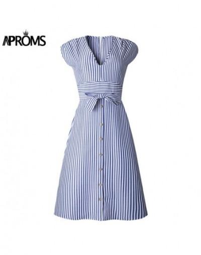 Vintage Stripe Print Midi Dress Women Elegant Deep V Sash Tie Up Bodycon Dresses Female Summer Streetwear Sundresses 2019 - ...