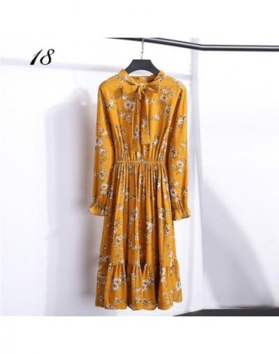 Summer Women's Chiffon Dress Floral Print Elastic Waist Long Sleeve Ruffle Elegant Dress Office Casual midi dress - color18 ...