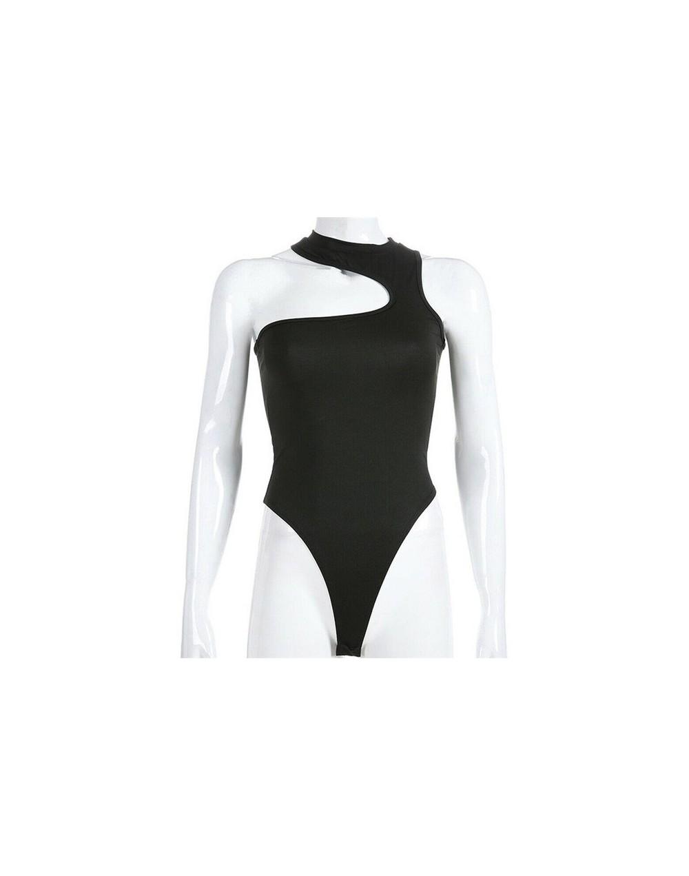 Newest Women Cotton Bodysuit Stretch Leotard Sleeveless Body Tops Lady Jumpsuit - Black - 4J4115457489-1