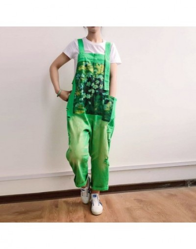 Candy Denim Suspender Jumpsuit Women Ripped Hole Braces cowboy Overall Baggy Sleeveless Rompers Suspenders Wide Leg Bib jean...