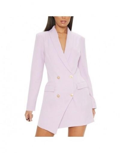 Blazer 2019 Women's Double Breasted Blazer Dress Lapel Collar OL Blazer Pocket Women Dress Jacket Blazer Outerwear - purple ...