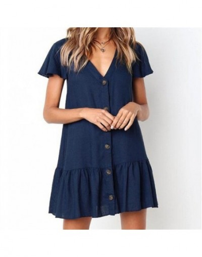 2019 Summer Beach White Cotton Tunic Women Beachwear Tops Blouse Sexy V-Neck Button Front Open Short Sleeve Shirts Feminina ...