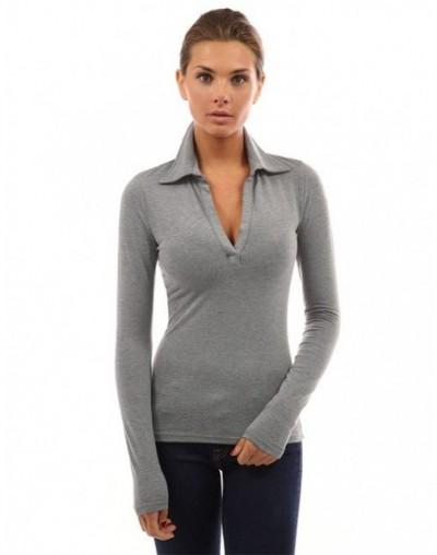 Shirt Women Long Sleeves Sexy V Neck Slim Office Ladies Shirt Gray Black Turndown Collar Woman Spring Autumn Blouses - Gray ...