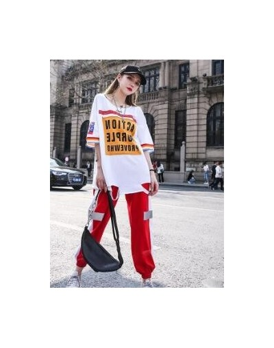 Korean Fashion Contrast Color Sports Suit High Street Holes Summer Pullovers+Elastic Waist Casual Pants - White - 4841483454...