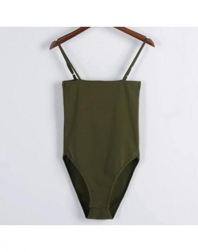 Women Cotton Spandex Spaghetti Strap Basic Tube Bodysuit Adjustable Cami Straps Bodysuit - army green - 4X3884292026-4