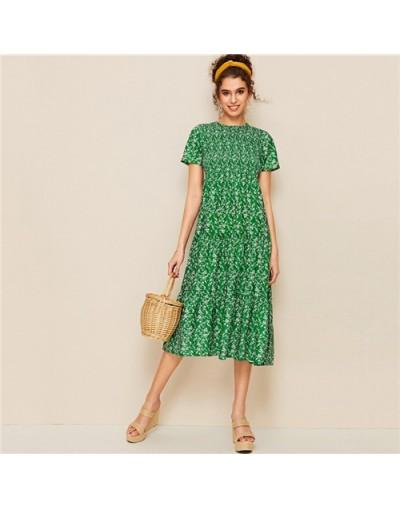 Green Ditsy Floral Shirred Tent Dress Women 2019 Summer Boho Short Sleeve Dresses Ladies A Line High Waist Dress - Green - 4...