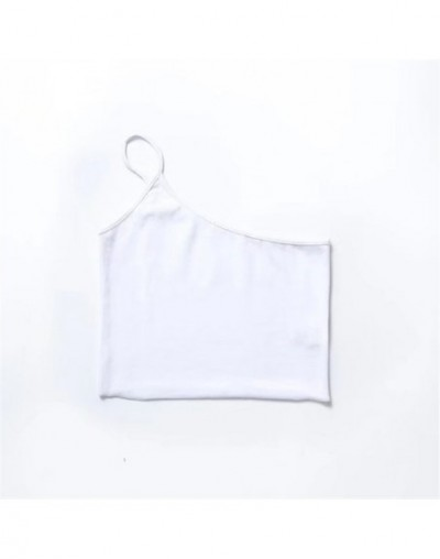 Women Sexy One Shoulder Vest knitted Cotton elastic bustier crop top Exposed Navel tops 2018 Summer sexy Slim tank - White -...