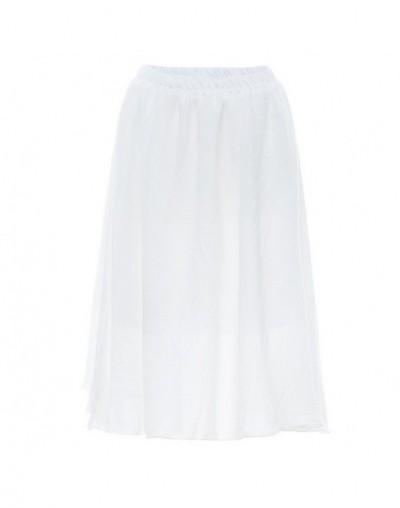 Degree Tightness Self-cultivation Fold High Waist Ice Silk Floss Half-body Skirt Girls Longuette Skirt - White - 5X111114986...
