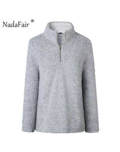 Turtleneck Long Sleeve Sweater Women 2018 Autumn Winter Zipper Faux Fur Pullovers Tops - Gray - 4T3031782830-2
