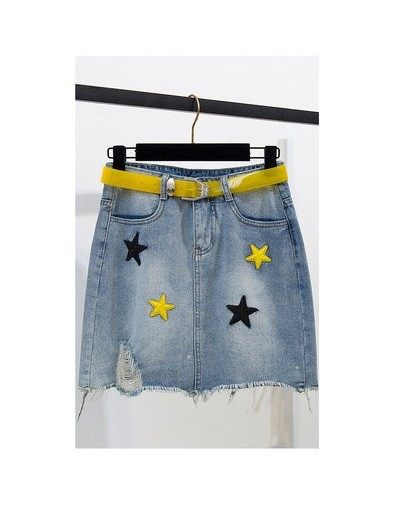 2019 Women Summer New Casual Two Piece Set Sequined Stars Slash neck T-shirt+ Embroidery Star Tassel Denim Skirt With Belt -...