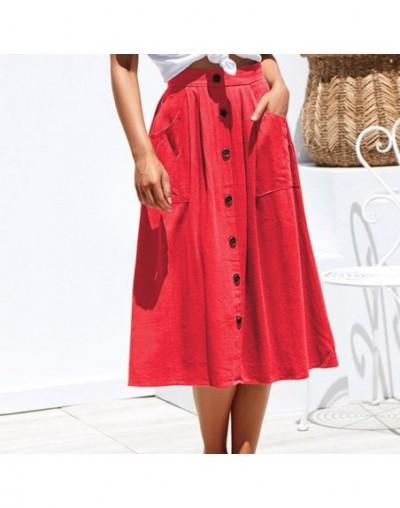 2019 New Black Summer Skirts Women Elegant Skinny Button Pocket Skirt Female High Waist Pleated School Skirt NEW - Red - 4H4...