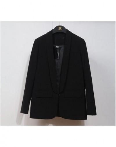 2019 Ladies Spring Eleagnt Office Blazers for Women Slim Lapel Collar Long Sleeve Business Blazer Jacket Female Yellow - Bla...