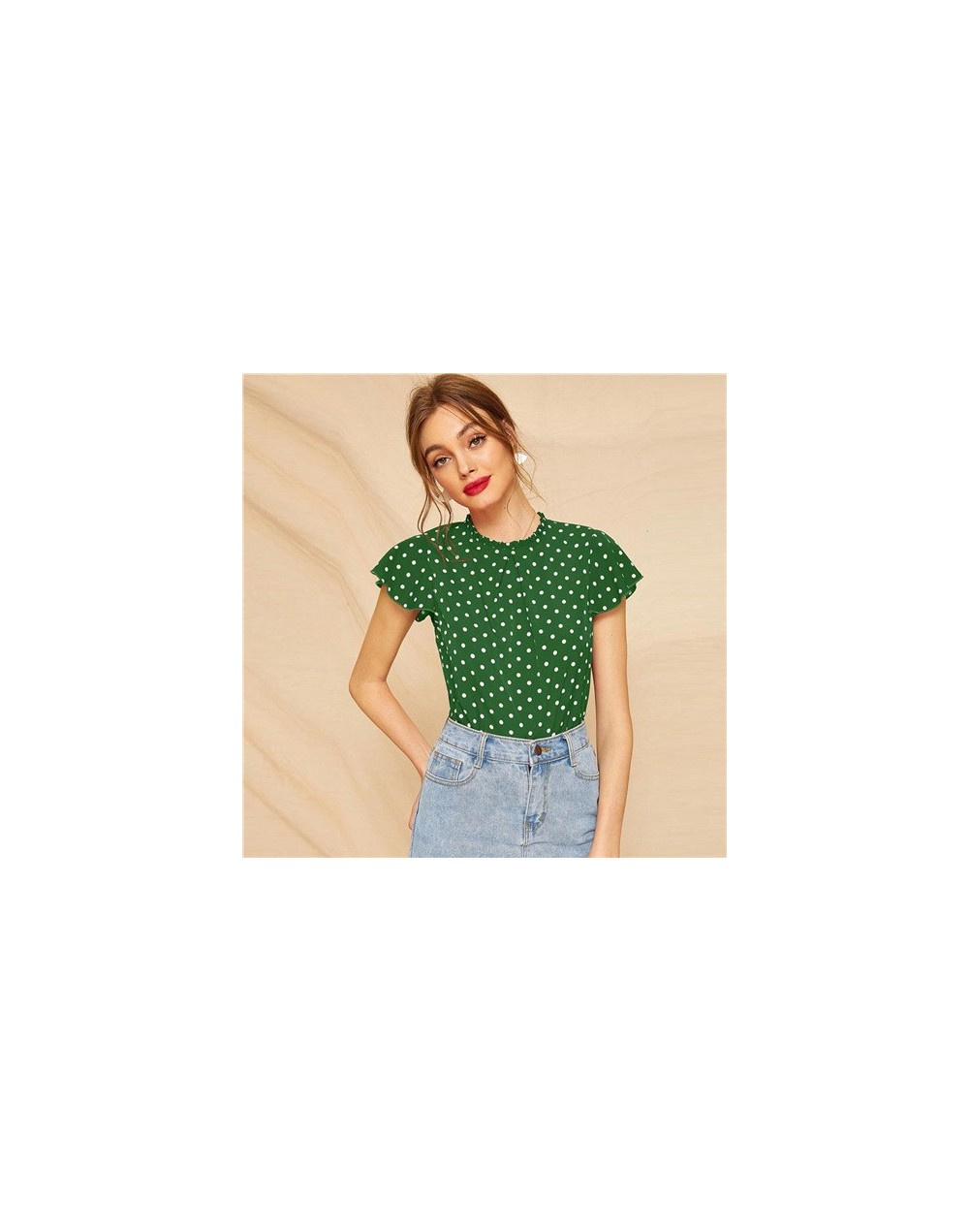 Butterfly Sleeve Polka Dot Frill Blouse Women Cute Cap Sleeve Top 2019 Summer Fashion Ladies Tops and Blouses - Green - 4041...