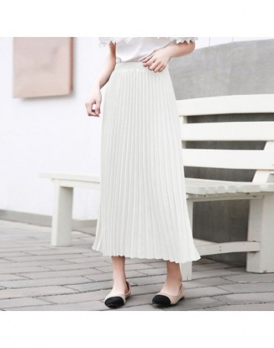 2019 new summer fashion women clothes 2019 Autumn Solid Color Long Fund Will Code Pleated Skirt High Waist Half-body Skirt W...