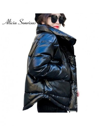 2019 Glossy Winter Down Cotton Padded Jacket For Women Thick Bright Black Short Shiny Jacket Yellow Red Cotton Parkas AS809 ...